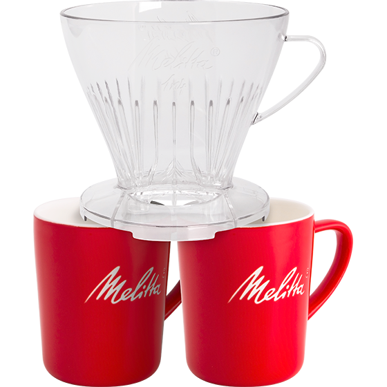 Kaffeefilter 1x4® transparent & 2 Melitta® Porzellanbecher