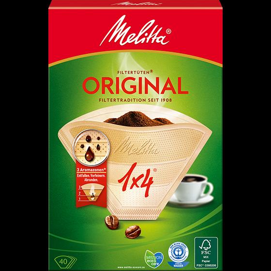 Melitta® Filtertüten® Original, 1x4®, braun, 40 St.