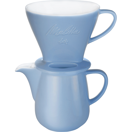 Porzellanfilter 1x4® & Porzellankanne 0,6L Eisblau